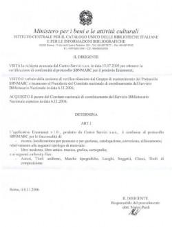 Certificazione SBN
